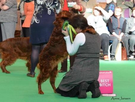 Tosca och jag efter tikvinst på Crufts 2012